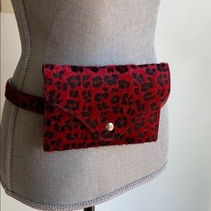 Red Leopard Print Fanny Pack